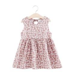 Đầm xòe bé gái cổ tròn họa tiết nơ nhí số 120