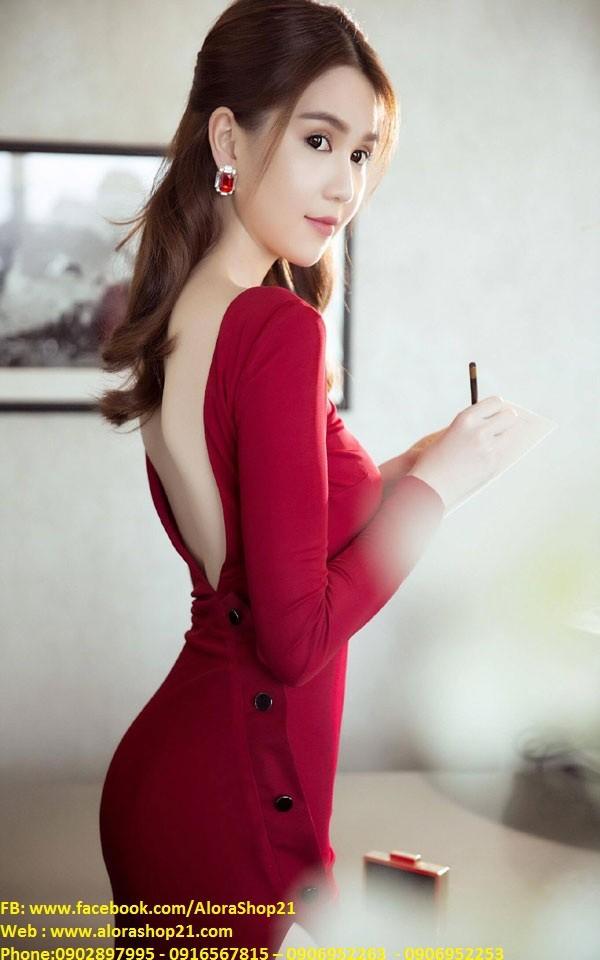 Chuyên sỉ - Đầm body tay dài thiết kế lưng V đẹp như Ngọc Trinh 4