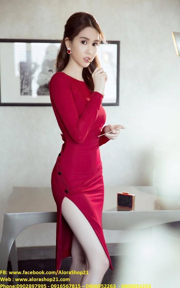 Chuyên sỉ - Đầm body tay dài thiết kế lưng V đẹp như Ngọc Trinh 3