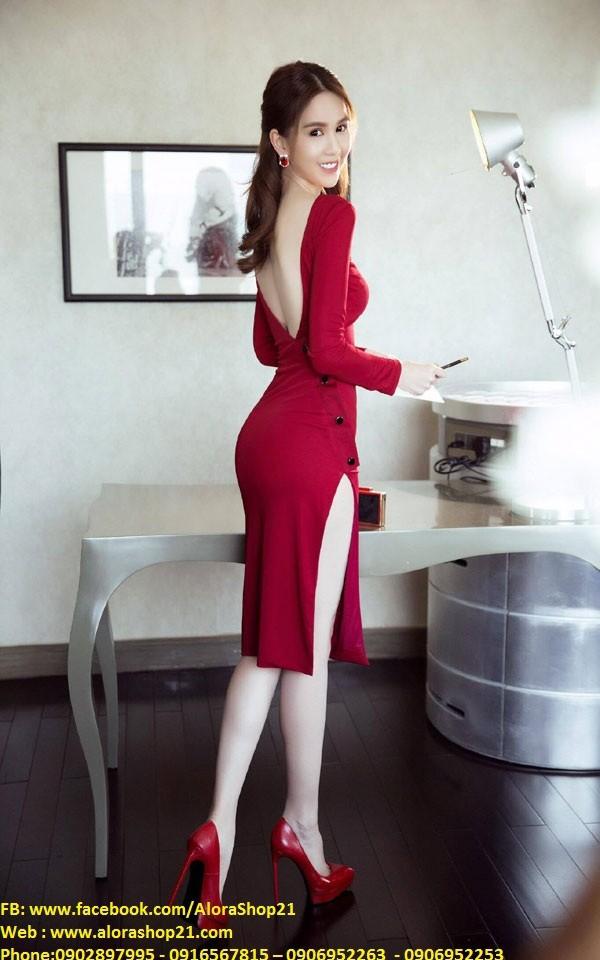Chuyên sỉ - Đầm body tay dài thiết kế lưng V đẹp như Ngọc Trinh 5
