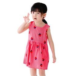 Đầm xòe bé gái cổ tròn họa tiết dâu tây màu hồng đậm số 100