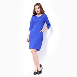 Đầm công sở Khánh Linh tay lỡ màu xanh coban
