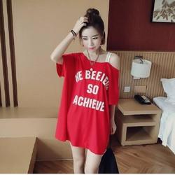 Đầm suông trễ vai,  kiểu dáng Hàn Quốc, trẻ trung, hiện đại SP001