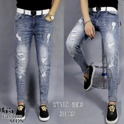 Quần jeans nam xanh xước