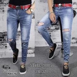 Quần jeans nam rách gối xanh