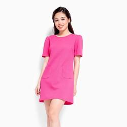 Đầm công sở phối túi màu hồng cánh sen