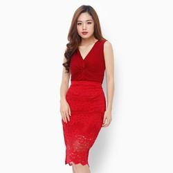 Sét chân váy ren phối áo thun màu đỏ