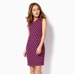 Đầm công  sở phối màu đen hồng
