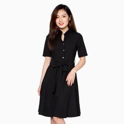 Đầm xòe cổ trụ kèm dây thắt nơ  Khánh Linh  màu đen size M