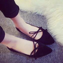 Giày búp bê cột dây thắt nơ