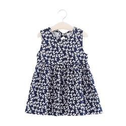 Đầm xòe bé gái cổ tròn họa tiết nơ nhí màu xanh đen số 120
