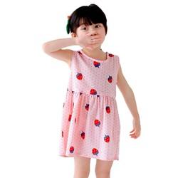 Đầm xòe bé gái cổ tròn họa tiết dâu tây màu hồng nhạt số 90