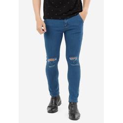 Quần Jeans nam QJ171 xanh dương rách gối phối thêu chữ