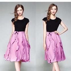 Set chân váy hồng Áo thu đen