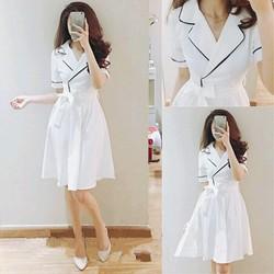 Đầm xòe trắng viền đen cao cấp