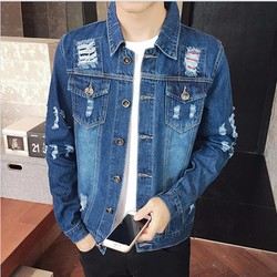 áo khoác jeans nam rách 2 túi Mã: NK0671 - XANH ĐẬM