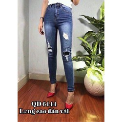 quần jean 2 da lưng cao rách