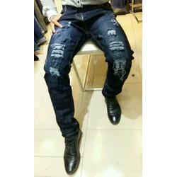 quần jean nam rách màu xanh đen
