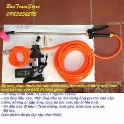 Bộ máy phun thuốc trừ sâu, rửa xe dùng  máy bơm tăng áp 12v BMC FL2203