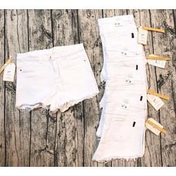 Quần short jeans trắng đen rách lai