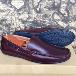 Giày lười nam da bò trơn màu nâu giá tốt
