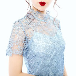 Đầm Ren Hoa Dây Nơ Ruy Băng Sau Lưng