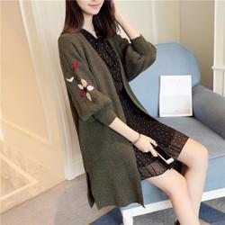 Áo khoác len thêu tay hoa dáng dài, hàng Quảng châu