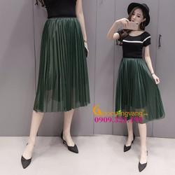 chân váy dài xếp ly hai lớp GLV035-Green