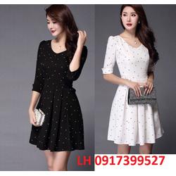 đầm xòe váy xòe đầm xòe họa tiết thời trang Hàn Quốc - L12AD18