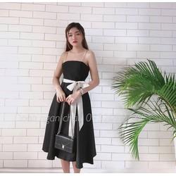 👉 Đầm Xoè Vintage Đen Dây Nơ Trắng