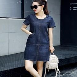 Đầm jean suông dạo phố phối túi cổ tròn thời trang - 160