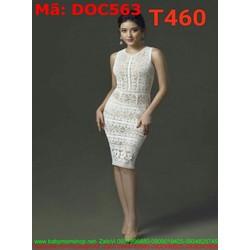 Đầm ôm dự tiệc sát nách chất liệu ren nổi sang trọng DOC563