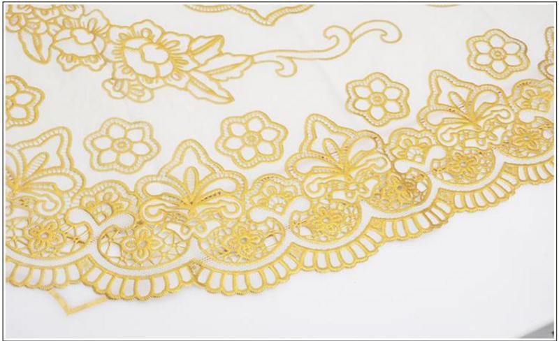 [60x120 - Vàng] Khăn trải bàn hoa văn dập nổi sang trọng loại TRUNG 7