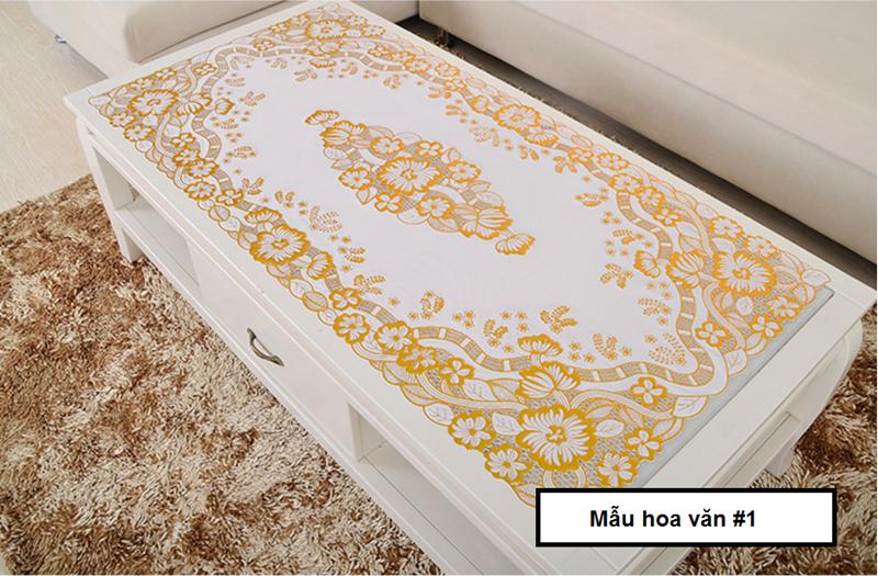 [60x120 - Vàng] Khăn trải bàn hoa văn dập nổi sang trọng loại TRUNG 10