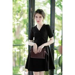 HÀNG THIẾT KẾ-Đầm Xòe Công Sở Cổ Đắp-TQS834