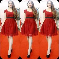 Đầm xòe ren đỏ tay con xinh xắn