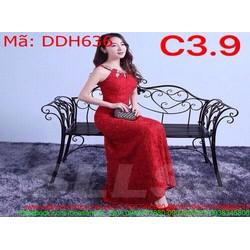 Đầm dự tiệc cổ yếm màu đỏ chất liệu ren cao cấp DDH636