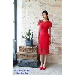 Đầm Ren Công Sở Kết Hoa Đỏ