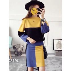 Set áo + váy len phối màu