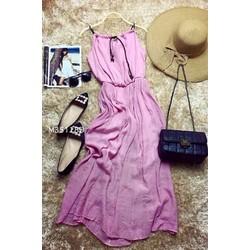 Đầm maxi cổ yếm bo eo