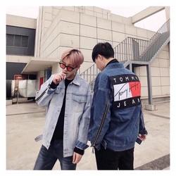 Áo khoác Jeans phối zip tay