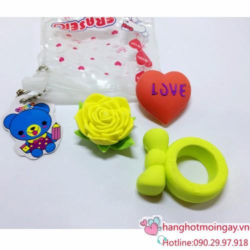 Túi  gôm hình bông hồng- nhẫn- trái tim