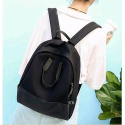 Balo đi học đi chơi đen phối da - Balo đơn giản màu đen