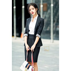 Áo blazer dài đen