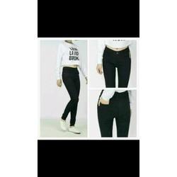 quần jeans skinny đen trơn lưng cao