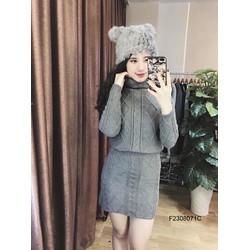 Set áo len cổ lọ chân váy hàng nhập  - MS: S230826 Gs 170k