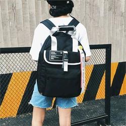 Balo đi học đi chơi màu đen - Balo vải sinh viên