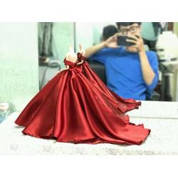 Đầm cưới búp bê màu đỏ sang trọng