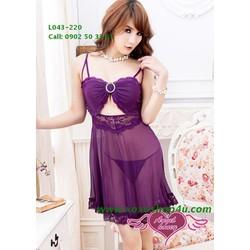 Đầm ngủ quyến rũ tôn ngực màu tím L043 cao cấp