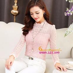Áo ren dài tay cổ cao dáng ôm hồng nhạt lớp lót mềm GLA008-Hongnhat